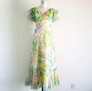 Vintage Dorothy Bullitt Chiffon Floral Maxi Gown